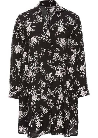 465db77bf36 Длинная блузка оверсайз (черный кремовый в цветочек) bonprix для женщин