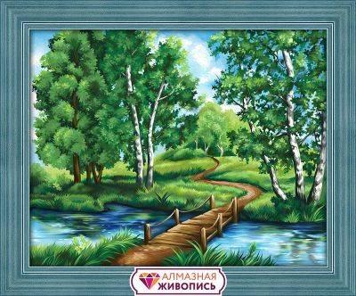 Березы у реки (АЖ-1627) - картина стразами Алмазная живопись (размер: 50х40 см)