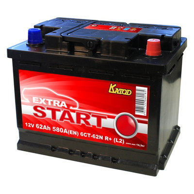 Аккумлятор автом. Катод Extra Start Extra Start 62Aч 580A (6СТ-62N R+ (L2))