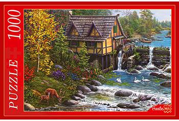 Пазлы Рыжий кот 1000 элементов. МЕЛЬНИЦА У РЕКИ Х1000-0517